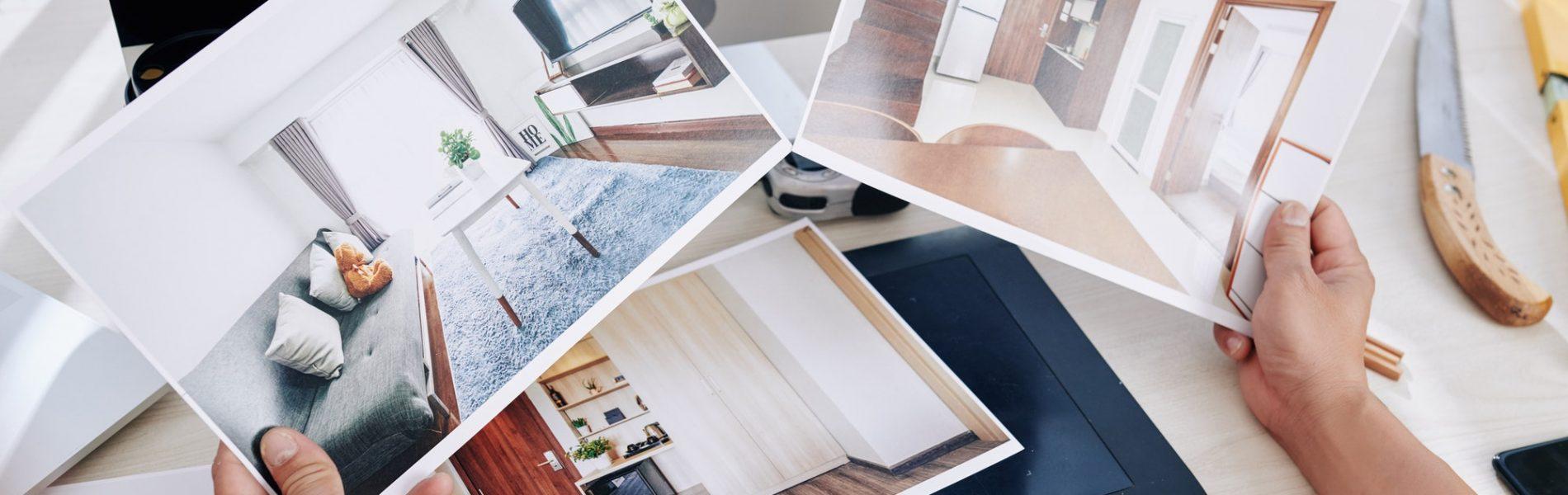 Interior designer looking at photos